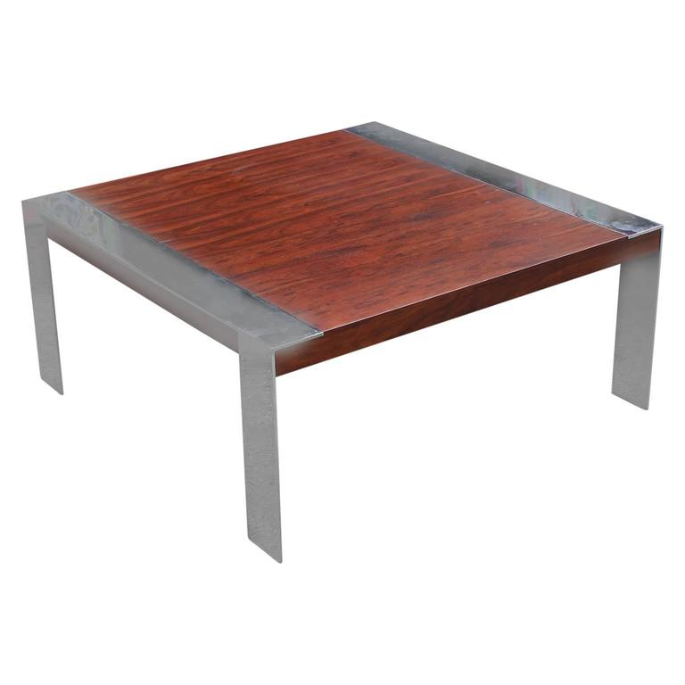 modern square chrome rosewood coffee table by milo baughman for thayer coggin for sale at 1stdibs. Black Bedroom Furniture Sets. Home Design Ideas