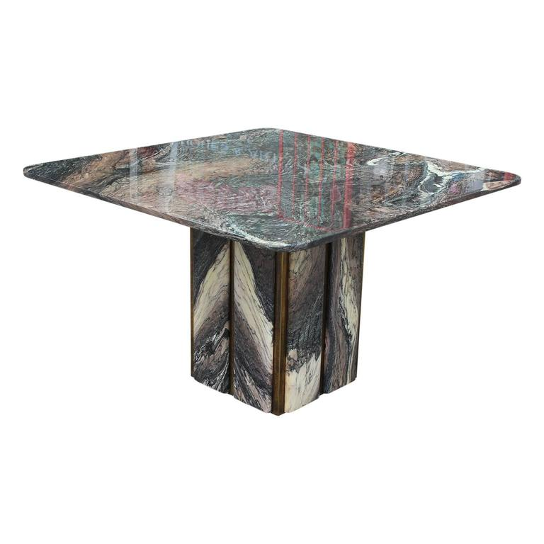 Brass And Marble Square Modern Italian Dining Or Kitchen