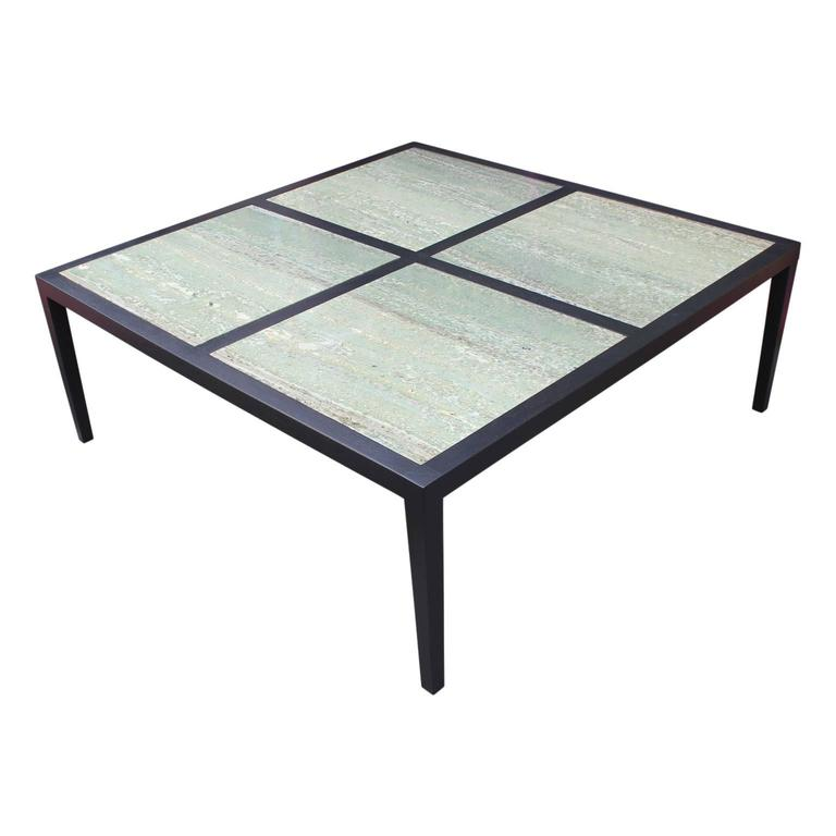 Modern Custom Made Large Square Coffee Table With Emerald Green