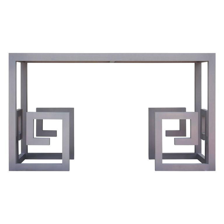 Modern Greek Key Console Table in Grey