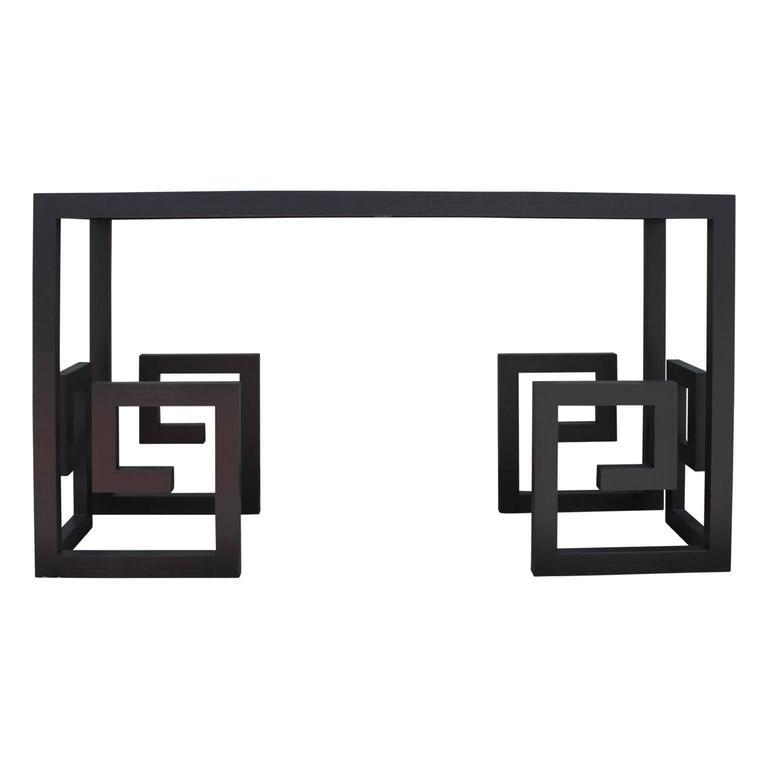 Modern Custom-Made Greek Key Console Table in Black