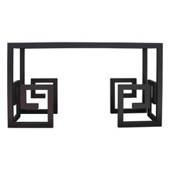 Modern Custom-Made Greek Key Console Table in Black