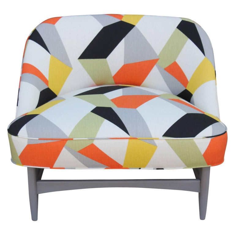 Pair of Modern Lounge Chairs in Gray and Bold Geometric Fabric with Ottoman 3