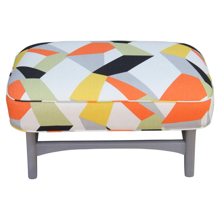 Pair of Modern Lounge Chairs in Gray and Bold Geometric Fabric with Ottoman 4