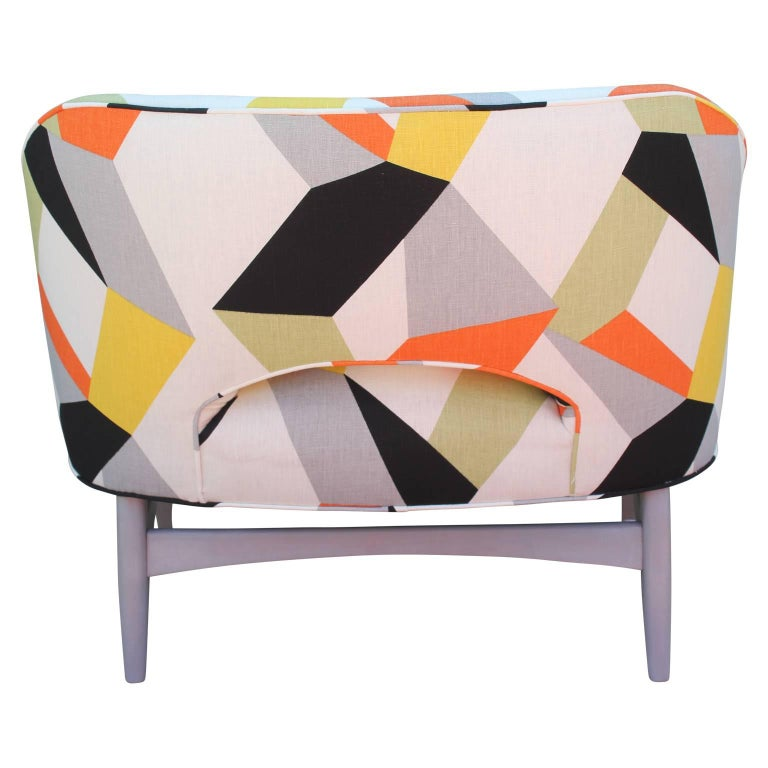 Pair of Modern Lounge Chairs in Gray and Bold Geometric Fabric with Ottoman 8
