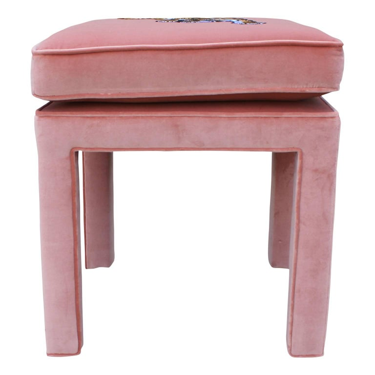 Contemporary Luxe Modern Light Pink Velvet Pair of Stools or Ottomans with Embroidered Tigers For Sale