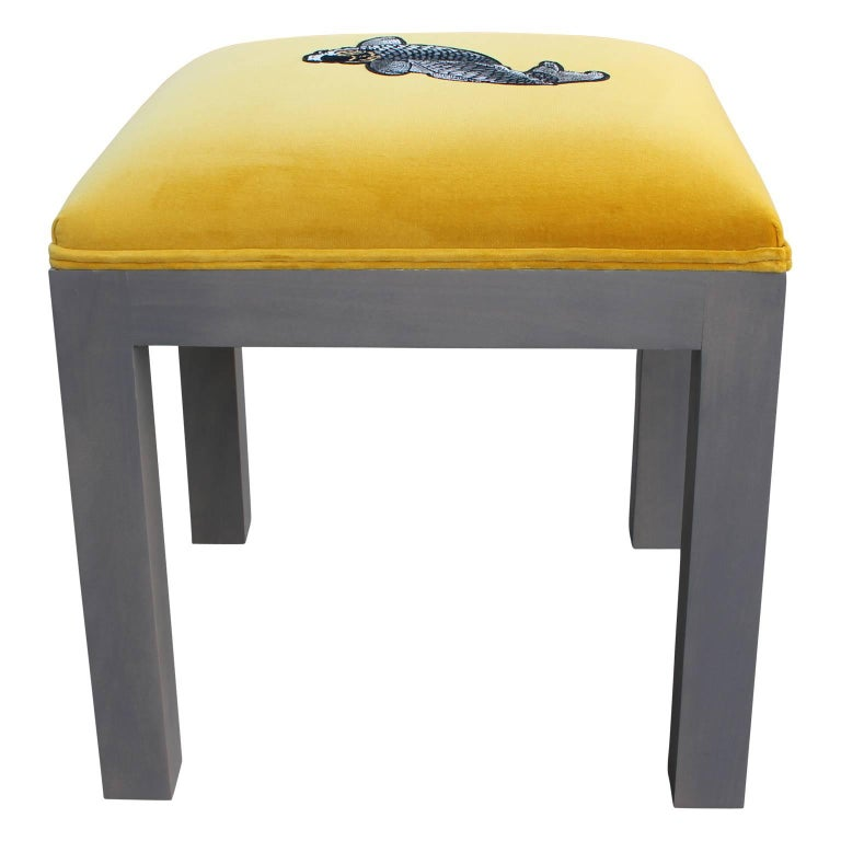 American Luxe Modern Yellow Velvet Pair of Ottomans or Stools, Embroidered Koi Fish For Sale