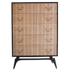 Modern Two-Tone Five-Drawer Tall Dresser with Bleached Walnut and Brass Hardware