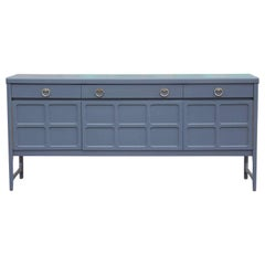 Hollywood Regency Deep Grey or Blue Credenza with Brass Pulls