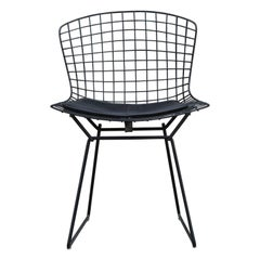 Modern Set of Four Harry Bertoia for Knoll Black Wire Dining Chairs