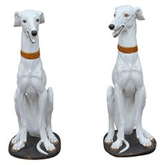 Pair of Spanish Ceramic White Greyhound Dog Statues