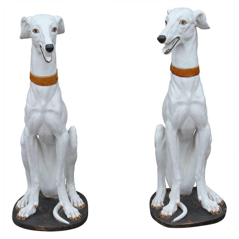Pair of Spanish Ceramic White Greyhound Dog Statues