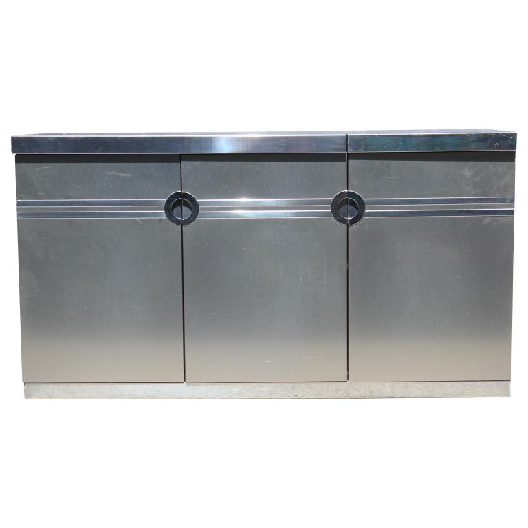 Modern Pierre Cardin Brushed Aluminium and Chrome Flip Top Dry Bar