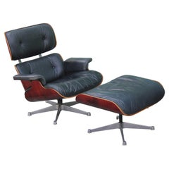 Modern Black Leather and Rosewood Vitra Eames Lounge Chair and Ottoman