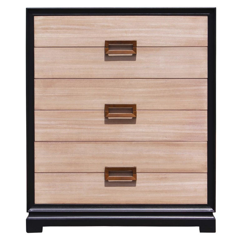 Modern Two-Tone Six-Drawer Chest of Drawers with a Neutral Finish & Brass Pulls