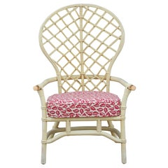 Hollywood Regency High Back Fan Faux Bamboo Rattan Chair by Ficks Reed