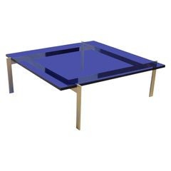 Modern Custom Blue Lucite or Acrylic and Solid Brass Square Coffee Table