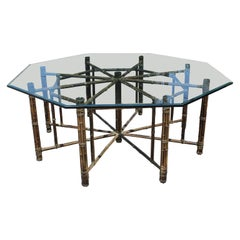 Hollywood Regency Bamboo Rattan and Glass Top Octagonal Dining Table by McGuire