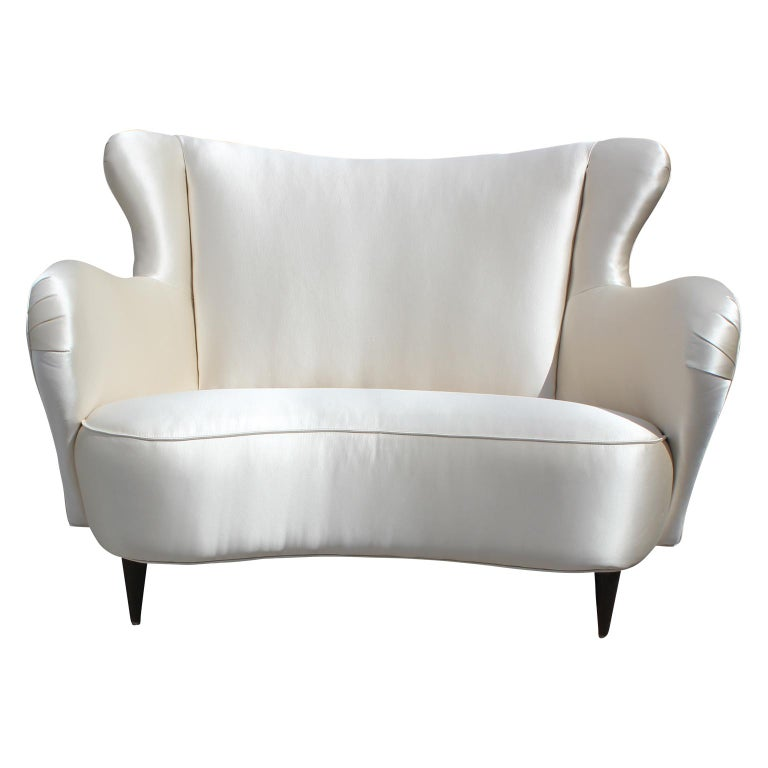 Modern Italian Wingback Love Seat / Settee in Holly Hunt Silk and Walnut Legs