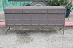 Modern Hollywood Regency Grey Sideboard with Brass Ring Handles