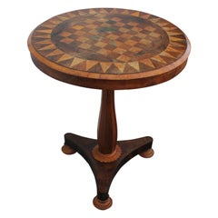 Gorgeous Round Empire Tilt Top Parquetry Game or Chess Table