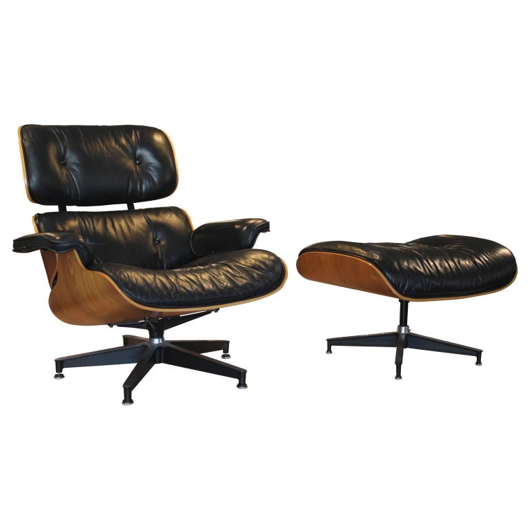 Modern Black Leather and Walnut Herman Miller Eames Lounge Chair and Ottoman