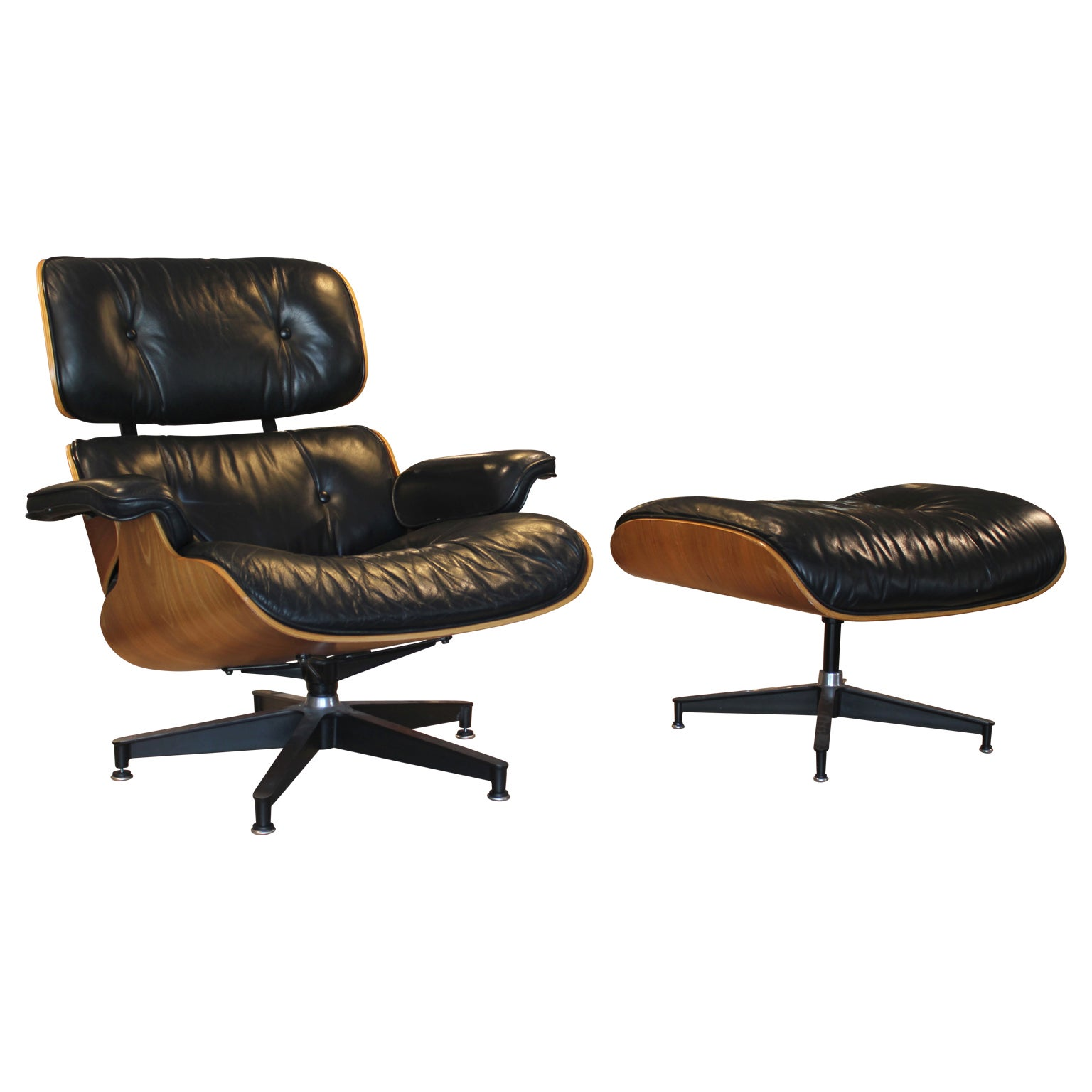 Modern Black Leather And Walnut Herman Miller Eames Lounge Chair Ottoman At 1stdibs
