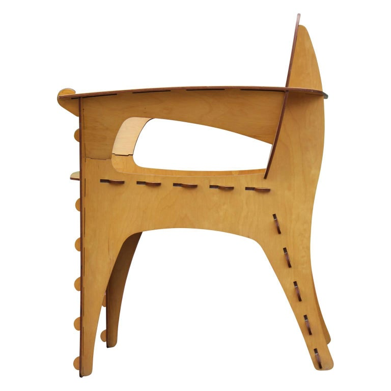 Late 20th Century Modern Birch Plywood Design Puzzle Lounge Chair by David Kawecki For Sale