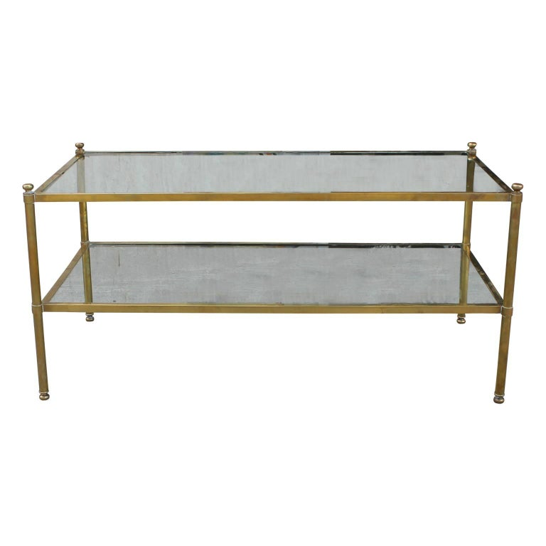 Modern Hollywood Regency Style Brass Coffee Table with Glass