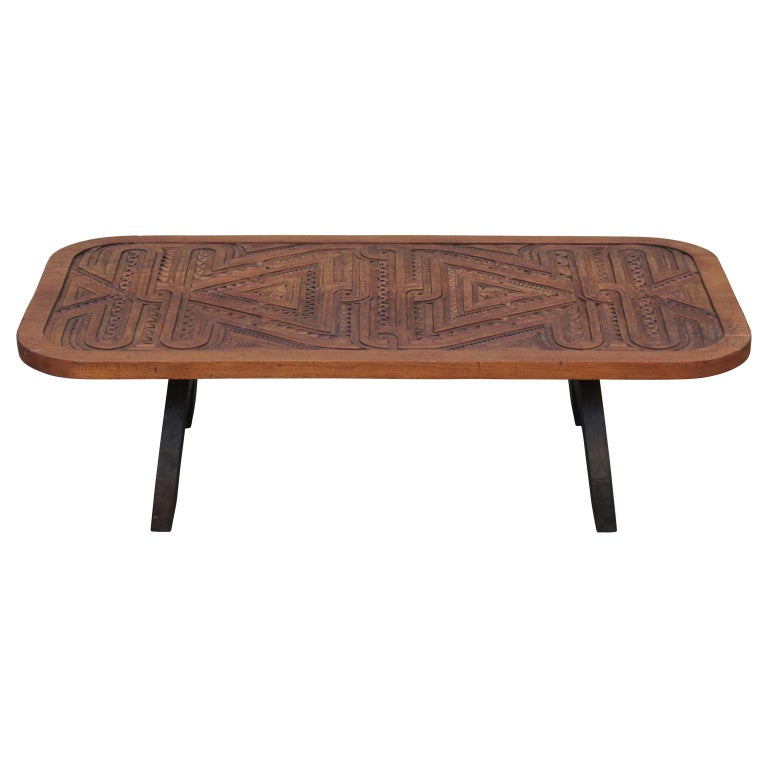 Solid Wood Carved Coffee Table: 20th Century Rustic / Modern Indian Solid Wood Carved