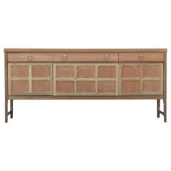 Modern Hollywood Regency Bleached Sideboard with Brass Ring Handles