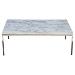Modern Knoll Chrome and Marble Top Rectangular Coffee Table
