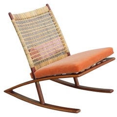Modern Fredrik Kayser Teak Cane and Leather Strapping Rocking Chair