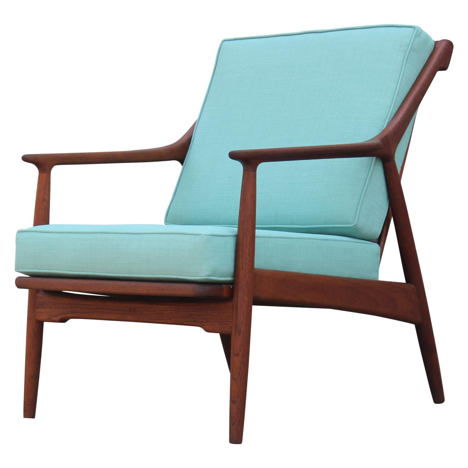 Modern Danish Teak Spindle Back Lounge Chair In Turquoise By Jason Ringsted  For Sale