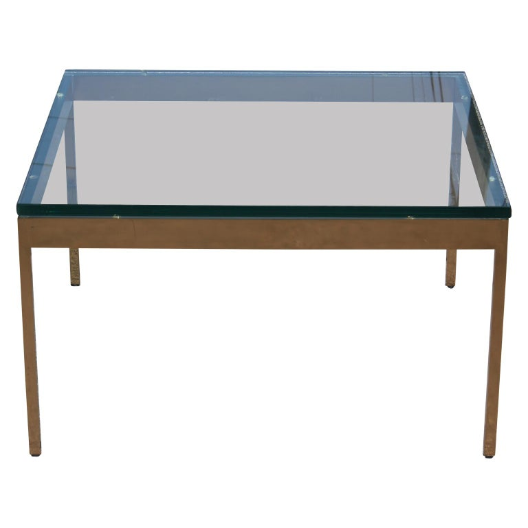 Hollywood Regency Brass and Glass Square Coffee Table by Knoll & Nicos Zographos