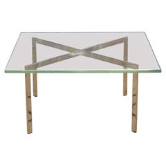 Modern Mies van der Rohe for Knoll Brass and Glass Barcelona Coffee Table