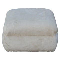 Modern Square Ottoman or Pouf in a Neutral or Cream Faux Fur