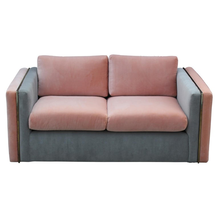 Modern sofa by Milo Baughman for Thayer Coggin freshly upholstered in lush pink and grey velvet. Perfect addition to any space in search of a modern and clean look.