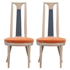 Pair of Modern Tomlinson High Back Sculptural Occasional Chairs in Orange Mohair