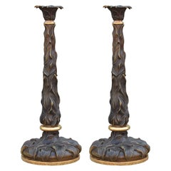 Pair of Naturalist Bronze and Gold Candle Stick Holders with Flowing Leaves