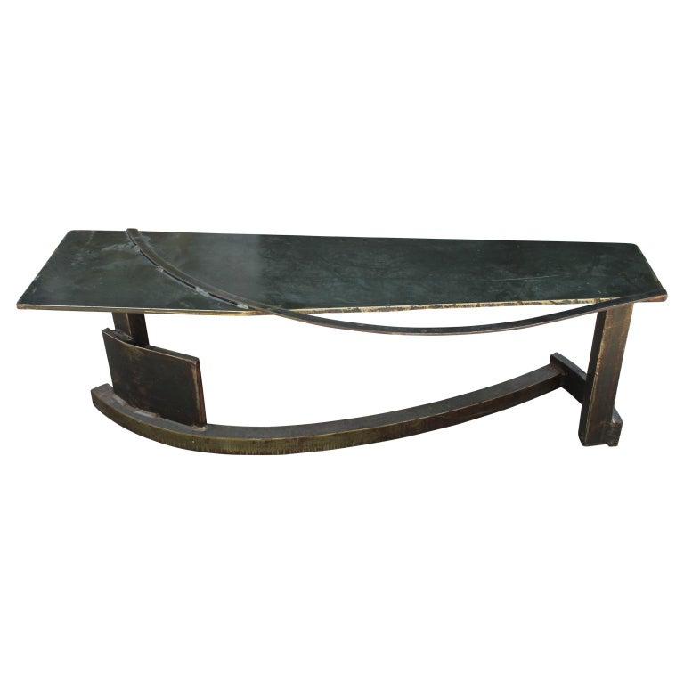 Postmodern / Industrial Sculptural Studio Made Steel Bench