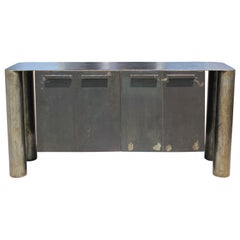 Sculptural Postmodern / Industrial Custom Made Steel Sideboard / Cabinet