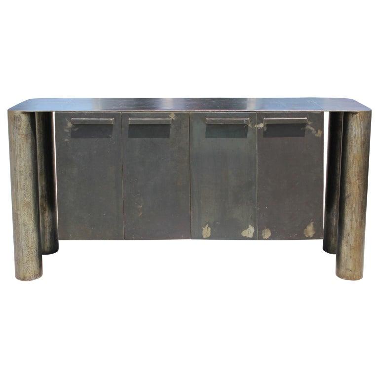 Sculptural Postmodern / Industrial Custom Made Steel Sideboard / Cabinet For Sale