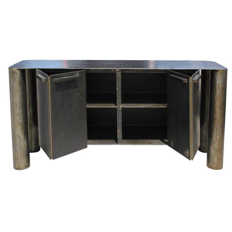 North American Sculptural Postmodern / Industrial Custom Made Steel Sideboard / Cabinet For Sale