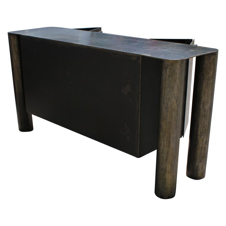 Late 20th Century Sculptural Postmodern / Industrial Custom Made Steel Sideboard / Cabinet For Sale