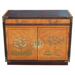 Hollywood Regency Two-Tone Walnut Cabinet with Painted Flowers and Brass Accents