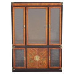 Hollywood Regency Walnut Two-Tone Cabinet with Painted Chinoiserie Motifs