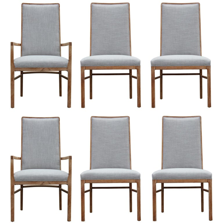 Set of Six Modern Grey Linen Dining Chairs with Bleached Wood Frames