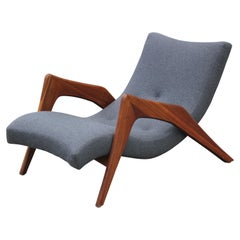 Modern Grey Wool Adrian Pearsall Walnut Grasshopper Lounge Chair