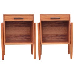 Modern Pair of Studio Made Danish Style Walnut End Tables or Nightstands